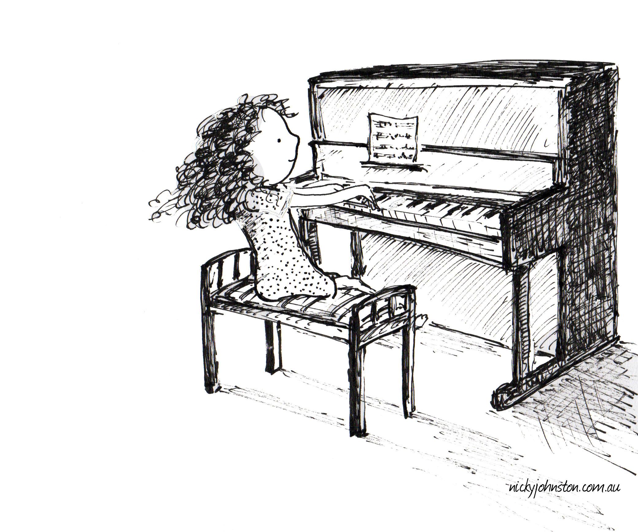 Фортепиано картинки для детей карандашом