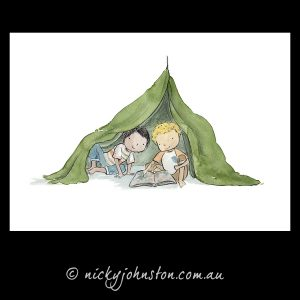 two-boys-reading-giclee-print-nicky-johnston