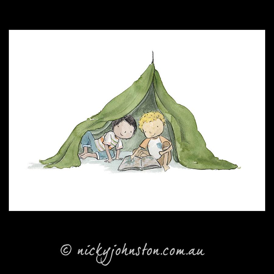 two-boys-reading-giclee-print-nicky-johnston