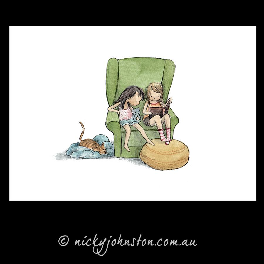 two-girls-reading-giclee-print-nicky-johnston