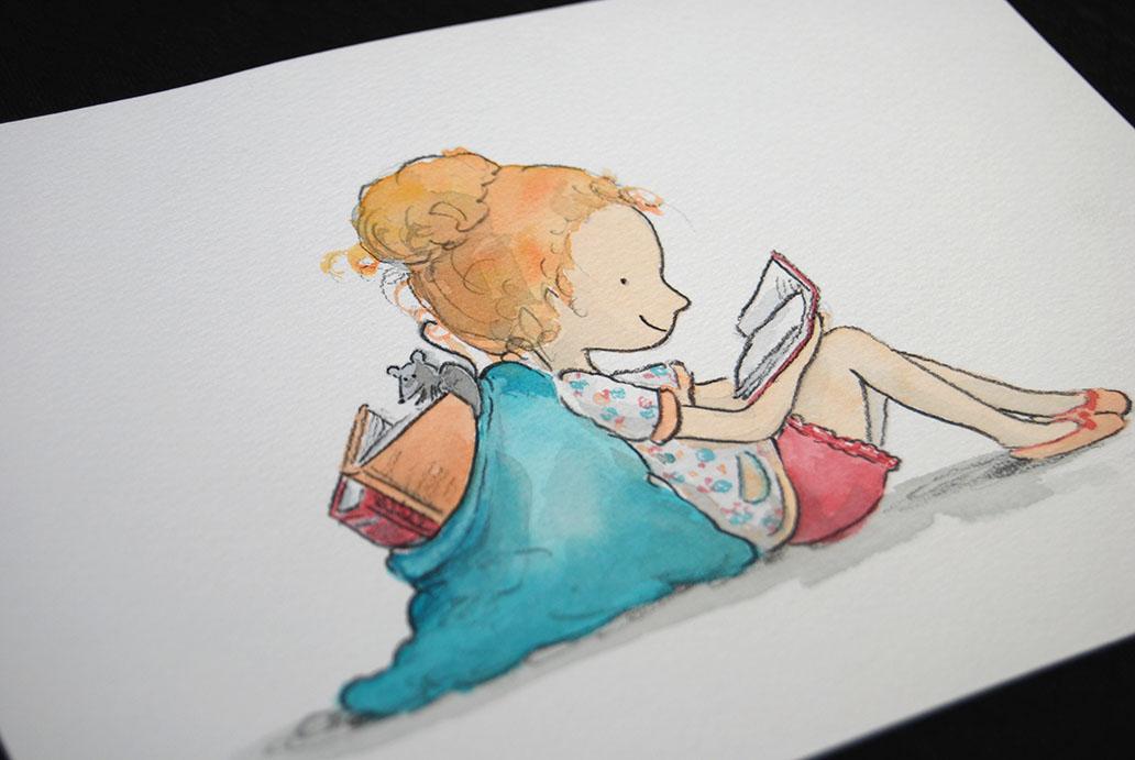 nicky-johnston-illustration-52 week-challenge-childhood-original-artwork-girl-reading