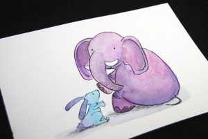nicky-johnston-illustration-52 week-challenge-childhood-original-artwork-elephant-friend-bunny
