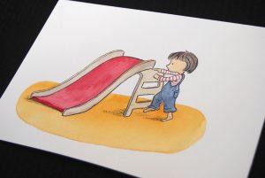 nicky-johnston-illustration-52 week-challenge-childhood-original-artwork-play-slide